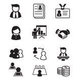 Menselijke middel & personeelsbeheerspictogrammen geplaatst illustratie Royalty-vrije Stock Foto