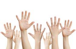 Menselijke omhoog opgeheven handen Stock Afbeeldingen