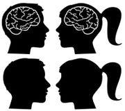 Menselijke profielensilhouetten met hersenen stock illustratie