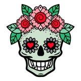 Menselijke schedel in bloemkroon geïsoleerde vectorillustratie Royalty-vrije Stock Afbeeldingen