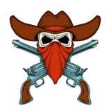 Menselijke schedel in cowboyhoed gekruiste revolvers Stock Afbeeldingen