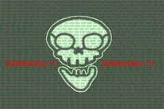 Menselijke schedel in digitaal achtergrond/Concept netwerkbeveiliging, stock afbeeldingen