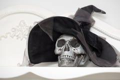 Menselijke schedel in een wit kabinet Stock Fotografie