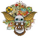 Menselijke schedel en bloemen Royalty-vrije Stock Afbeelding