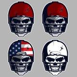 Menselijke schedel met Amerikaanse voetbalsterhelm Vector illustratie Stock Foto