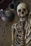 Menselijke schedel met donkere achtergrond Concept dood, verschrikking en anatomie Griezelig Halloween-symbool Stock Afbeeldingen