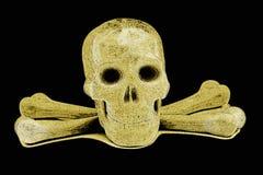 Menselijke schedel met gekruiste beenderen Stock Foto