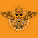 Menselijke Schedel met Vleugels Stock Afbeelding