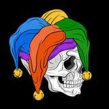 Menselijke schedel in narrenglb vectorillustratie Stock Afbeelding