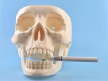 Menselijke schedel, sigaret. Stock Afbeelding