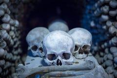 Menselijke schedels en beenderen in Sedlec-Ossuarium, Kutna Hora Stock Fotografie