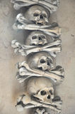 Menselijke schedels in Sedlec-Ossuarium (Tsjech: Kostnice v Sedlci) Stock Fotografie