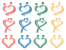 Menselijke van het het Symboolontwerp van de Liefdeverhouding Conceptuele het Pictogramreeks Stock Afbeelding