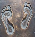 Menselijke voetafdrukken op het brons. Royalty-vrije Stock Foto