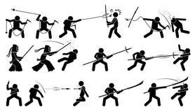 Mensen aanvallende tegenstander met traditionele Japanse melee het vechten wapens stock illustratie