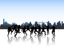 Mensen in actie en stad royalty-vrije illustratie