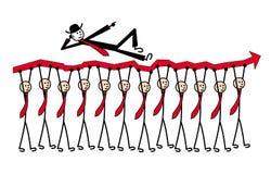 12 mensen in banden dragen een rode pijl Één mens op bovenkant en toont richting Grappig vectorbeeld stock illustratie
