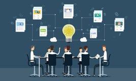 mensen bedrijfsgroepswerkvergadering en uitwisseling van ideeën stock illustratie