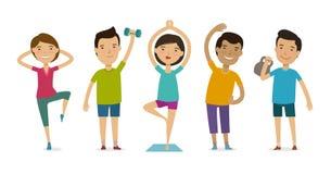 Mensen betrokken bij sporten Geschiktheid, gymnastiek, gezond levensstijlconcept Grappige beeldverhaal vectorillustratie stock illustratie