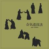 mensen bezette aikido, op een groene achtergrond Stock Fotografie
