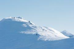Mensen bij de bovenkant van de berg. Royalty-vrije Stock Afbeelding