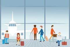 Mensen bij de luchthaven royalty-vrije illustratie