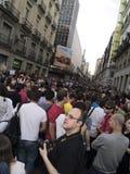 Mensen bij de Spaanse Revolutie in Madrid Royalty-vrije Stock Foto's