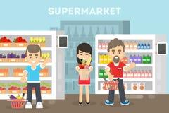 Mensen bij de Supermarkt stock illustratie