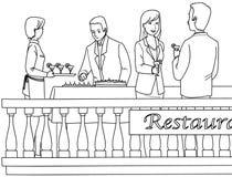 Mensen bij het restaurant stock fotografie