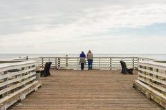 Mensen bij San Simeon Pier, Californië, de V.S. royalty-vrije stock foto's