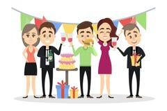 Mensen bij verjaardagspartij stock illustratie