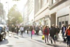 Mensen in bokeh, straat van Londen Royalty-vrije Stock Fotografie