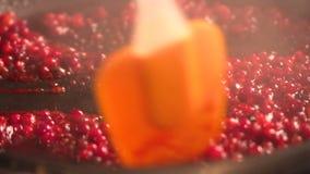 Mensen bradend voedsel in vlammende pan op gashaardplaat in keuken Chef-kok in Keuken het Koken stock footage