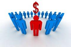 Mensen in cirkel met dollar s Stock Afbeeldingen