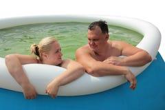 Mensen in de pool Stock Afbeelding