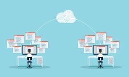 Mensen de programmering ontwikkelt website en toepassing op wolk Conceptuele bedrijfsillustratie mensen die aan monitor werken Be Stock Afbeelding