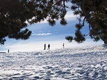 Mensen in de sneeuw Stock Foto's