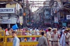 Mensen in de straten van India Royalty-vrije Stock Afbeeldingen
