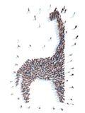 Mensen in de vorm van een dinosaurus Royalty-vrije Stock Afbeelding