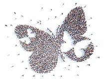 Mensen in de vorm van een vlinder Royalty-vrije Stock Foto's