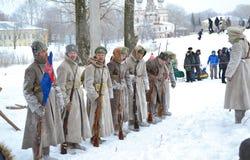 Mensen in de vorm van het Tsarist-Leger van Rusland Stock Afbeelding