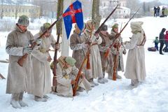 Mensen in de vorm van het Tsarist-Leger van Rusland Royalty-vrije Stock Foto's