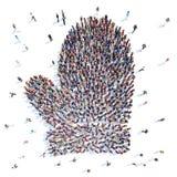 Mensen in de vorm van vuisthandschoenen Stock Fotografie