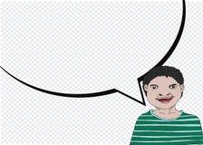 Mensen denken en volkeren die met de bellen van de dialoogtoespraak spreken Stock Foto's