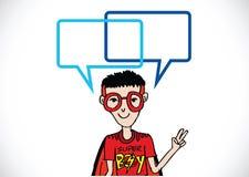 Mensen denken en volkeren die met de bellen van de dialoogtoespraak spreken Royalty-vrije Stock Foto's