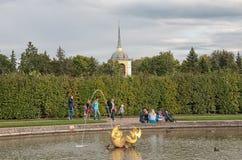 Mensen dichtbij fontein in het het Museumdomein Peterhof van de Staat Rusland stock afbeelding