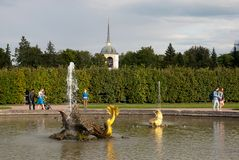Mensen dichtbij fontein in het het Museumdomein Peterhof van de Staat Rusland royalty-vrije stock fotografie
