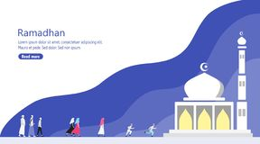 Mensen die aan de Meest dichtbijgelegen Moskee voor Ramadan Prayer lopen vector illustratie