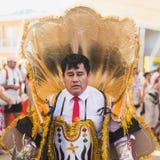 Mensen die aan de Nationale Dag van Bolivië in Expo 2015 in M deelnemen Royalty-vrije Stock Afbeelding