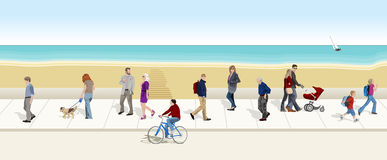 Mensen die aan de overzeese bodem lopen Stock Foto